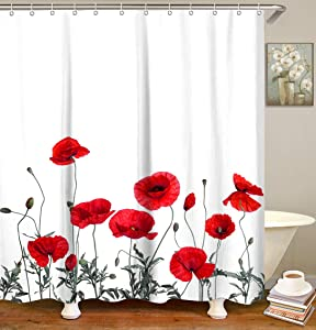 "LIVILAN Poppy Floral Shower Curtain Red Flowers Fabric Bathroom Curtain Home Decoration Set with Hooks Decorative Machine Washable (72""X72"")"