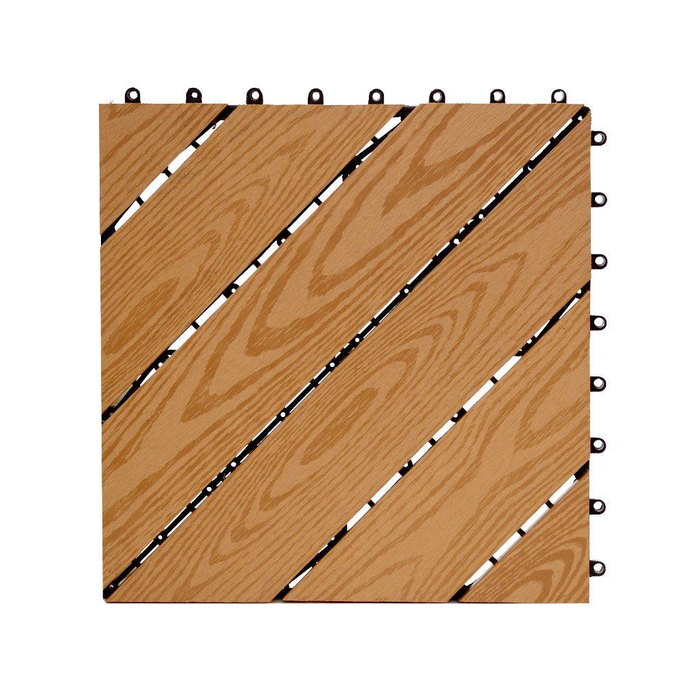 ウッドデッキ タイル [デザインタイプ ライトブラウン 15枚セット] 約30.5x約30.5cm 人工木 パネル フロアデッキ ジョイントタイル ウッドタイル ガーデニング DIY 木目柄 連結可能 耐腐食性 耐久性 B0749FFDS7 デザインタイプ/ライトブラウン デザインタイプ/ライトブラウン