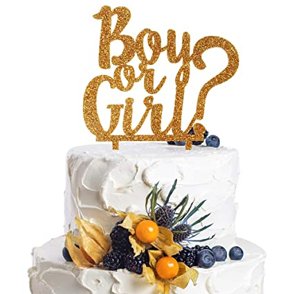 Acrylic Baby Shower Cake Topper He or She? Gold Glitter