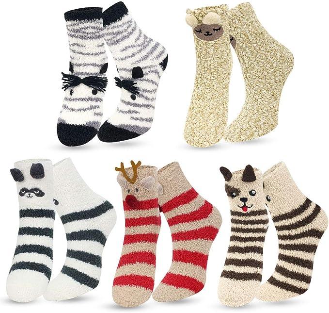 Socks Fun Cute Cozy Warm Fuzzy Animals For Kids