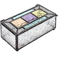 Colorful Stained Glass Box Jewelry Dish Trinket Keepsake Display Decorative Vintage...