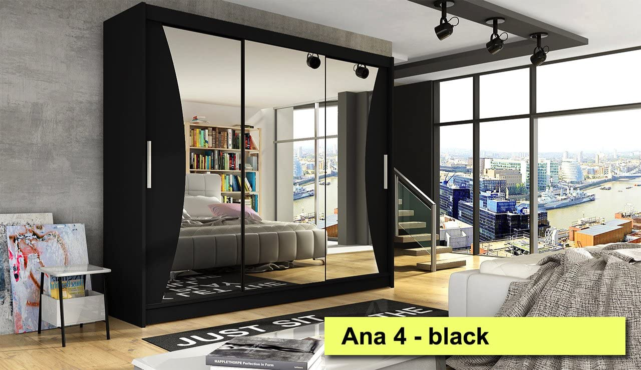 Armario puertas correderas Ana 4 negro 250 cm de ancho muchos colores: Amazon.es: Hogar