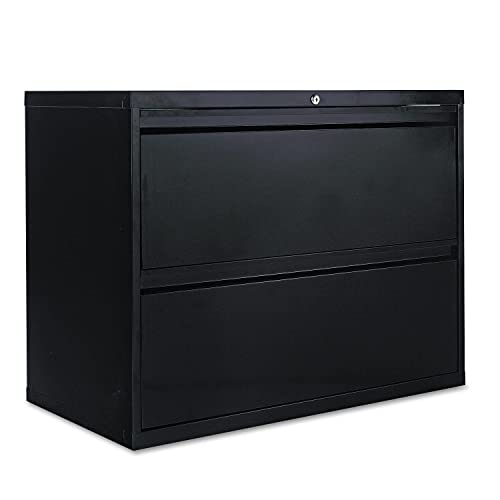 Alera Products – Alera – Two-Drawer Lateral File Cabinet, 36w x 19-1 4d x 29h, Black – Sold As 1 Each – 19 1 4quot deep drawers with side-to-side hang rails to accommodate letter legal hanging files. – Full drawer extension on steel ball bearing tel