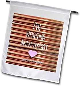 3dRose fl_154436_1 7th Wedding Copper Celebrating 7 Years Together-Seventh Anniversaries Seven Garden Flag, 12 by 18-Inch