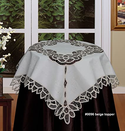 Battenburg Lace Tablecloth 33u0026quot; Square Hand Embroidered Table Topper  Beige, 100% Cotton