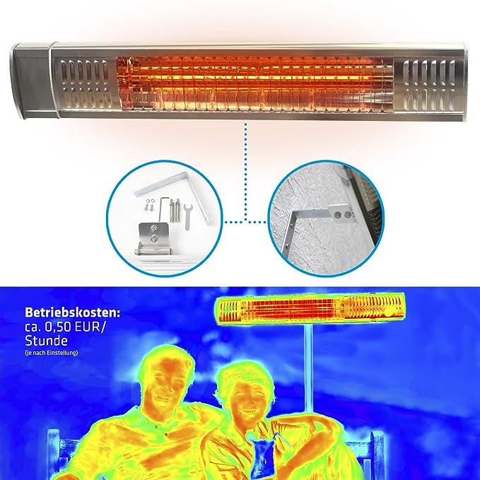 Estufa Lampara para Exterior; Calefactor Eléctrico Radiante por Rayos Infrarrojos para Jardines Terrazas y Zonas Exteriores; Tubos Dorados; Protección IP65; ...