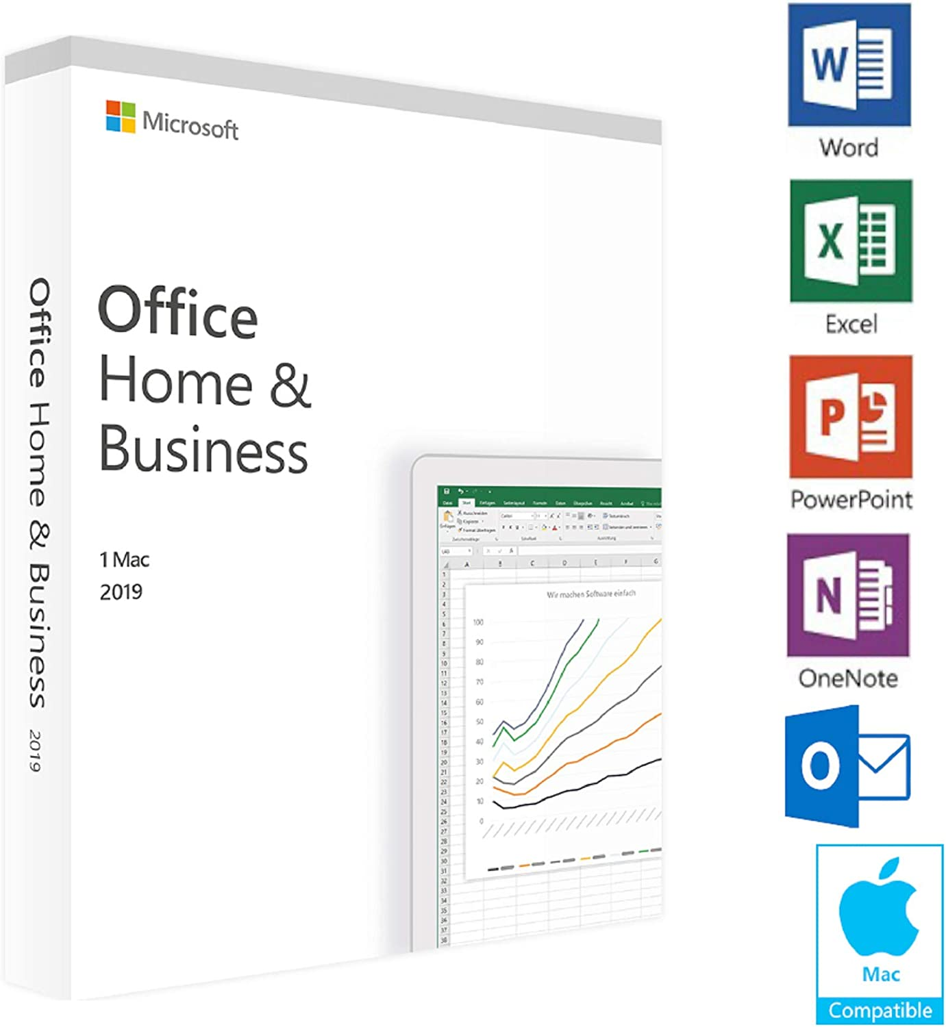 Office Home and Business 2019 - 1 PC / Mac - KeyCard - Lifetime License - Delivering by post mail