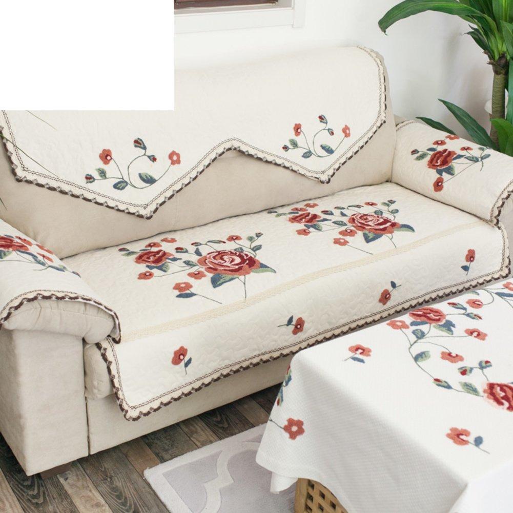 Embroidery fabric sofa cushions sofa back towel rural non slip cushion B 90x180cm(35x71inch) by Sofa towel
