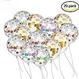BUWANT Confetti Balloons 20 Pezzi 12 pollici per Decorazioni Party, 10 pezzi d'oro e 10 pezzi colorati