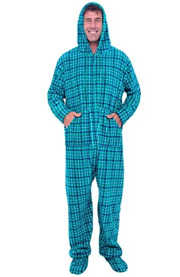 Alexander Del Rossa Mens Fleece Onesie, Hooded Footed Jumpsuit Pajamas, Small Aqua Green and Blue Plaid (A0320Q04SM)