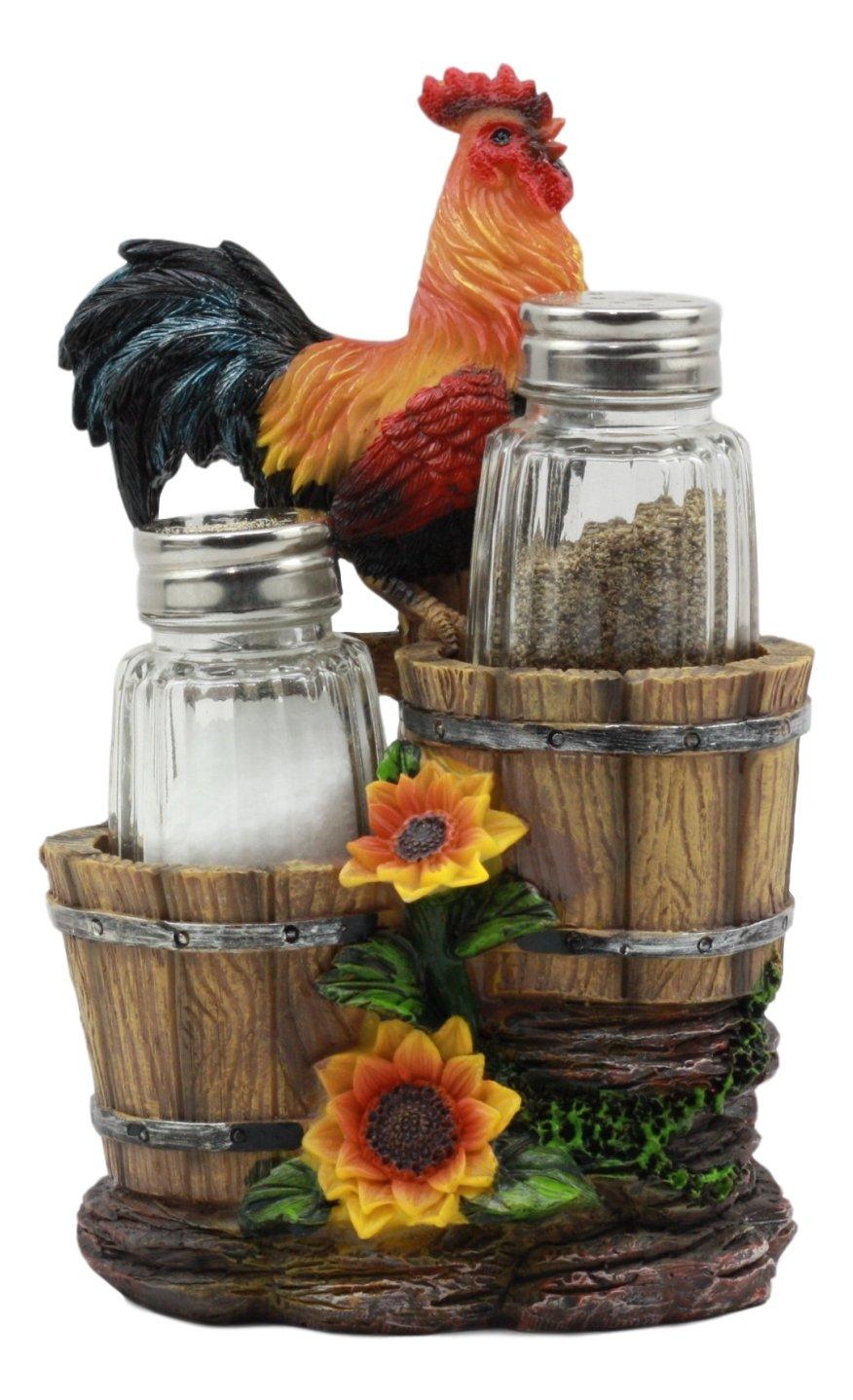 Sunflower Farm Crowing Rooster Standing On Fence By Old Fashioned Wooden Buckets Glass Salt And Pepper Shakers Holder Figurine