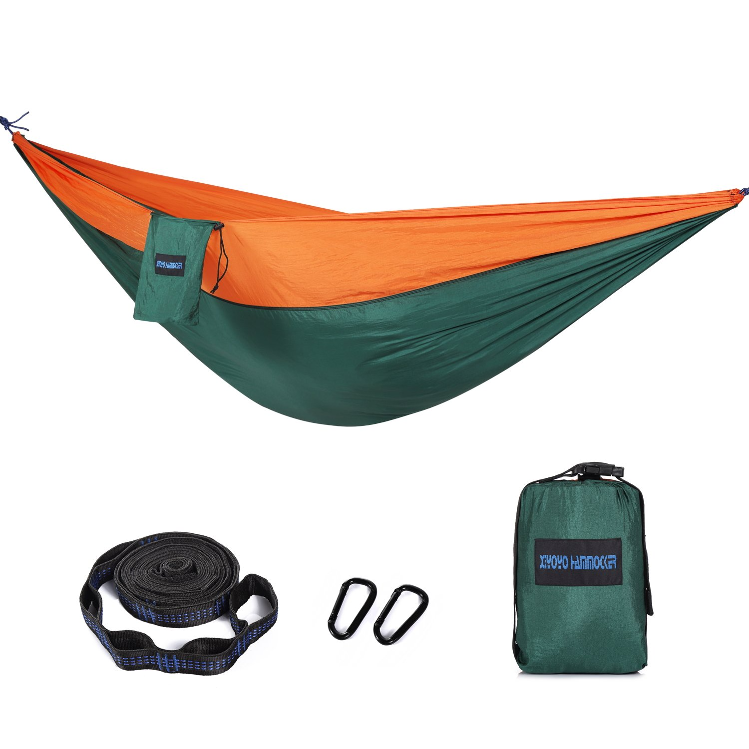 Camping Hammocks with Tree Straps, Indoor Outdoor Double & Single Lightweight Nylon Parachute Hammocks for Backpacking Survival, Travel, Beach, Garden by Homeme