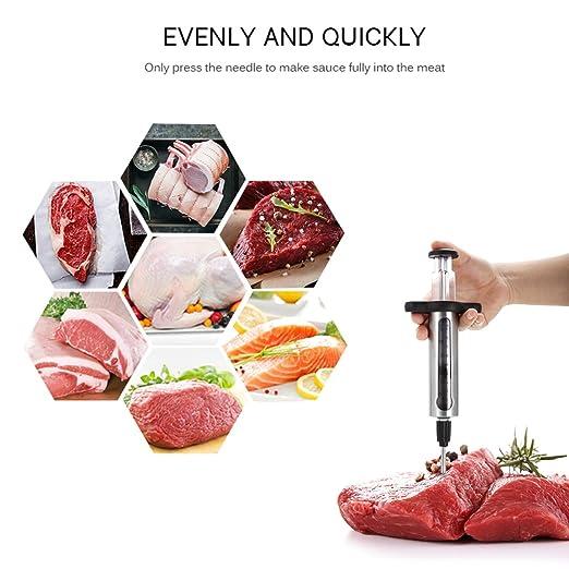 Compra KAYCROWN Mejor Utensilios de Cocina Carne inyector Kit de Acero Inoxidable Adobo inyector Sabor con 2 Profesionales Adobo Agujas y See-Thru Ventana ...