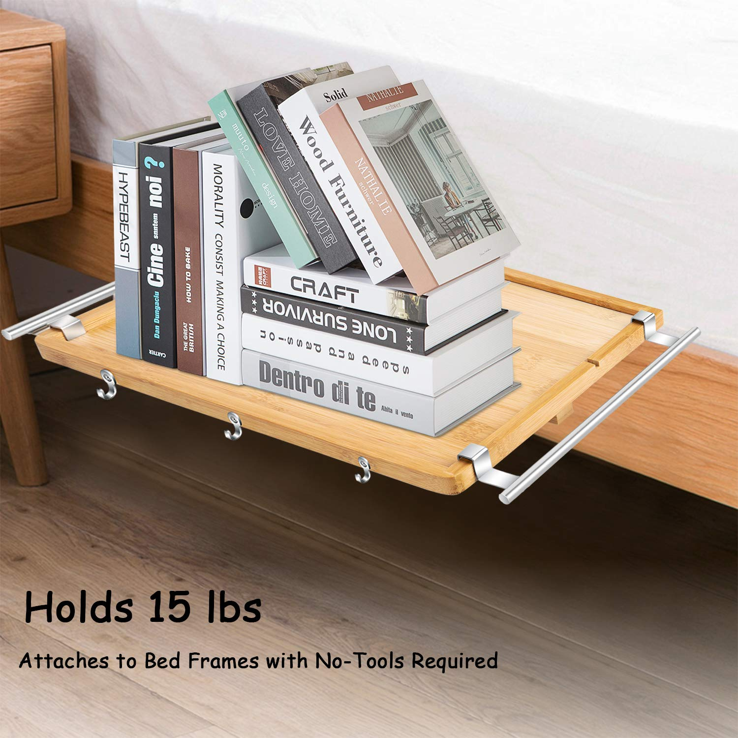 Electribrite Bamboo Bedside Shelf Storage Rack End Table Caddy Bunk Bed Shelf Kids Loft Bed Tray College Students Dorms Nightstand Organizer For Snack Laptop Phone Earphone Books Toys Clock Kids Furniture Toys Games