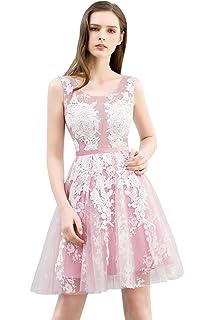 Misshow Lace Appliques Tulle Prom Dresses Short Round Neck Color Blocking Cocktail Gown