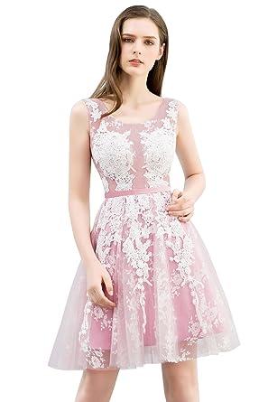 08358f713cb6b3 Misshow Damen Kleider a-Linie Knielang Mini Prizessin Rosa Applique Spitze  für Hochzeitgast Prom Dress