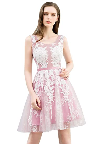 Misshow Juniors Short Masquerade Ball Gown Lace Appliques Color Blocking Prom Dress (Pink, 6