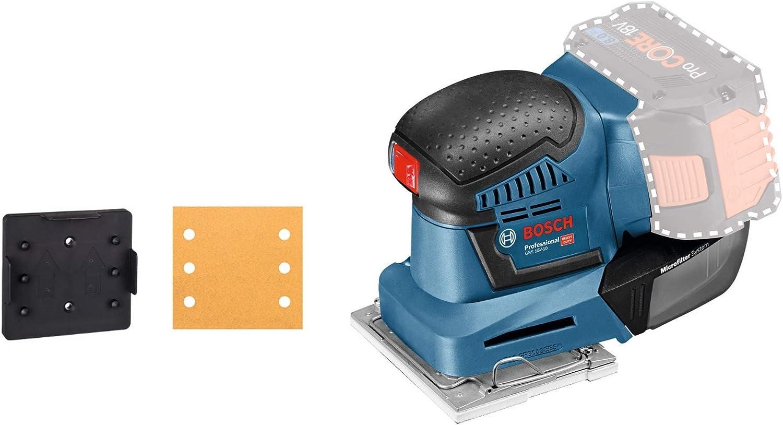 Bosch Professional GSS 18V-10 orbital, plato lijador 113 x 101 mm, microfiltro, sin batería, en caja, 18 V, Azul Marino: Amazon.es: Bricolaje y herramientas