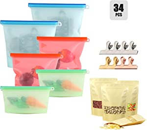 Family Food Storage 34pcs Set for Kitchen-Silicone Food Storage Bag for Vegetables,Fruits,Meat,Seafood;Kraft Stand-Up Food Pouch for Grain,Nuts;Stainless Steel Sealing Clips for Snacks,Spice,Seasoning
