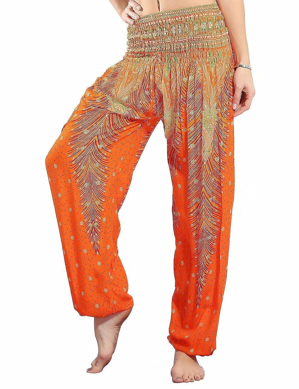 orange NORMOV Boho Harem Pants for Women Bohemian Yoga Loose Peacock Feather High Waisted Active Pants