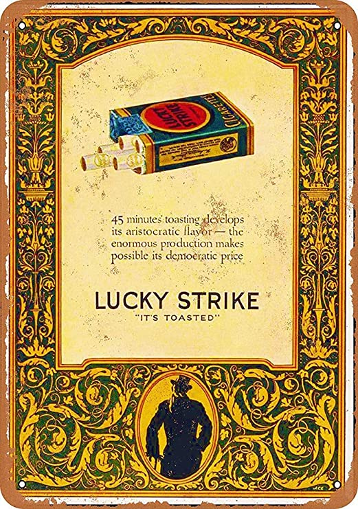NOT Lucky Strike Cigarettes Placa de Cartel de Chapa Vintage ...