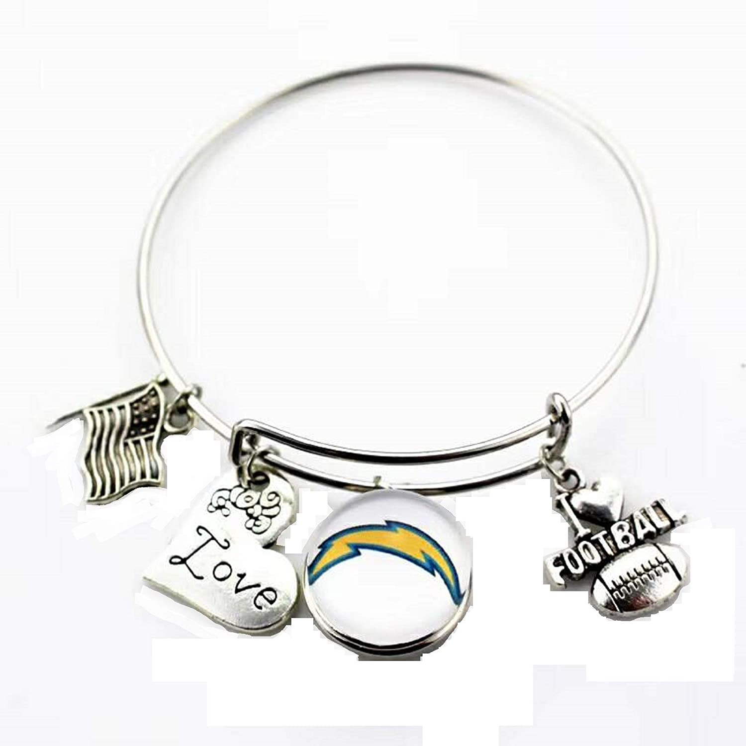 BAS Inc Los Angeles Chargers Metal Charm Bracelet Adjustable 7 to 9