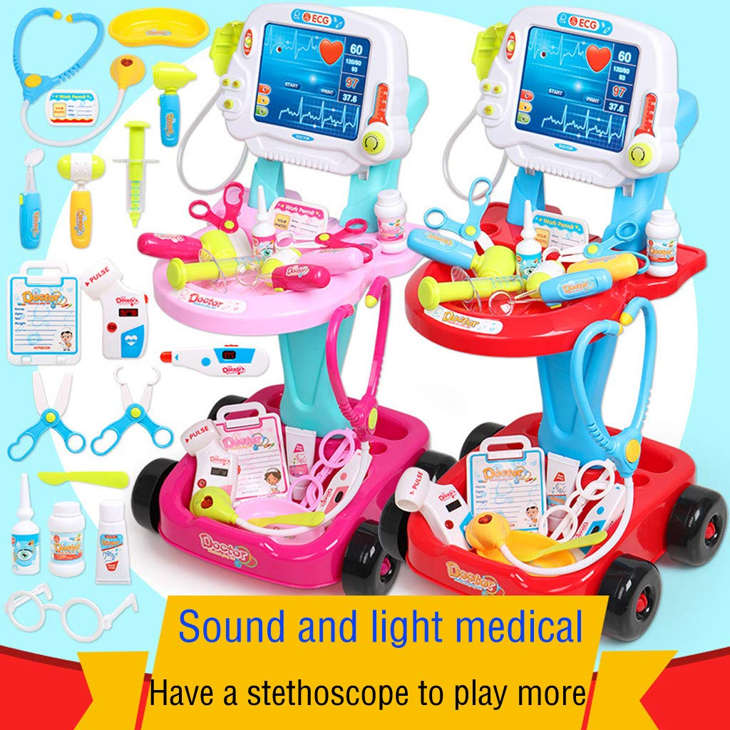 Simulation Bauble, Doctor Pretend Play Set with Electric Simulation ECG Medical and Stethoscope Kit by Little Story (Pink)