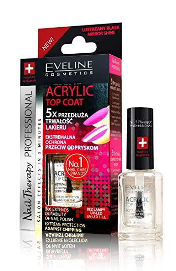 Amazon.com: Eveline Top Coat 5x Acrylic Nail Therapy Extends ...