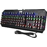 Clavier Gamer AZERTY VTIN Clavier Gaming Mécanique USB 104 Touches avec Commutateur Bleu 6-Couleur Rétro-éclairé