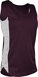 product image for TR-980W-CB Women's Athletic Lightweight Single Ply Track Singlet with Side Panels (Large, Maroon/White)