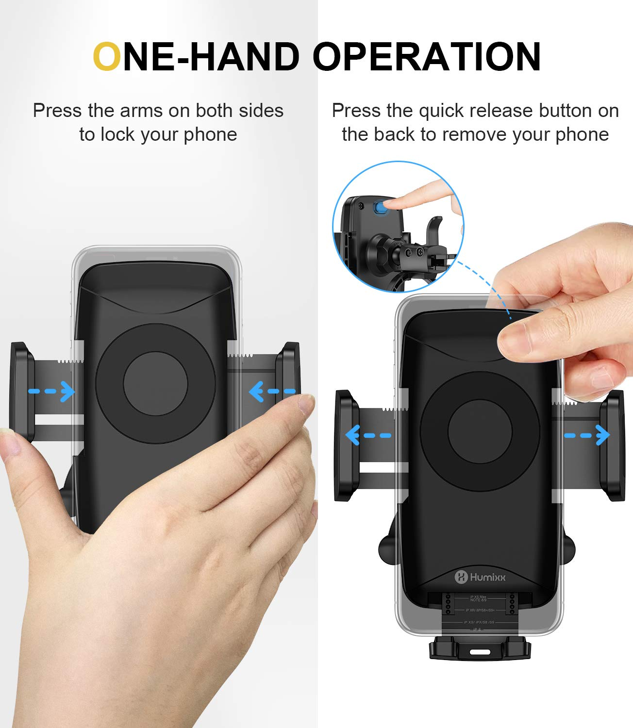 Wireless Charger Car Mount Compatible with iPhone 11 Pro Max XS Max XR X 8 Plus S10+ S10e S9 Note 10 Adjustable Car Phone Holder for Air Vent Humixx 10W//7.5W Qi Wireless Car Fast Charger for Phone