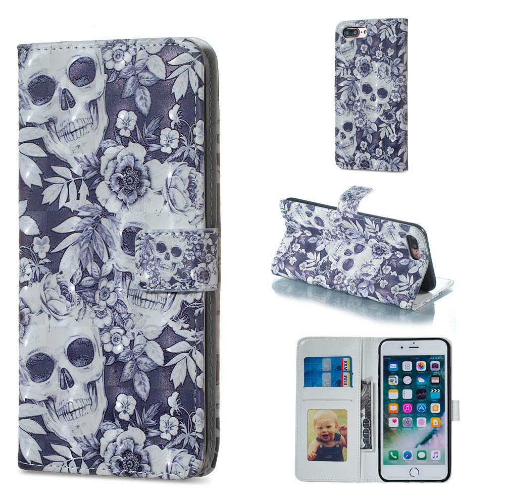 Amocase Wallet Leather Case with 2 in 1 Stylus for iPhone 7 Plus//8 Plus 5.5,Premium Slim Cute 3D Painting Shockproof Magnetic PU Leather Card Slot Stand Case White Blue Dot