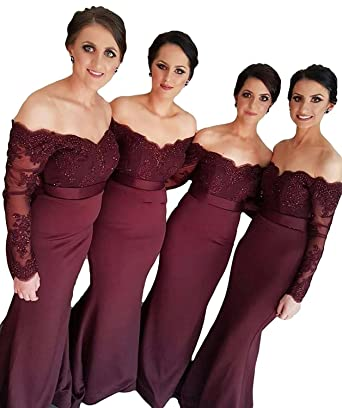 cbffb427c2c FIGHOUOR Mermaid Burgundy Lace Appliques Long Sleeves Bridesmaid Dress  Wedding Guest Dresses Off Shoulder Bridesmaid Dress at Amazon Women s  Clothing store