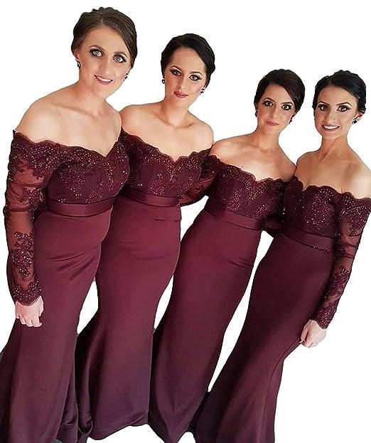 Fighouor Mermaid Burgundy Lace Appliques Long Sleeves Bridesmaid Dress Wedding Guest Dresses Off Shoulder Bridesmaid Dress