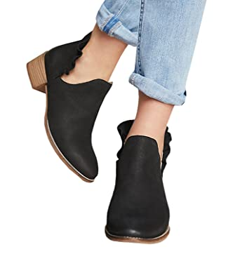 016e51c011c Amazon.com  Fashare Womens Fall Cutout Ankle Booties Low Stacked ...
