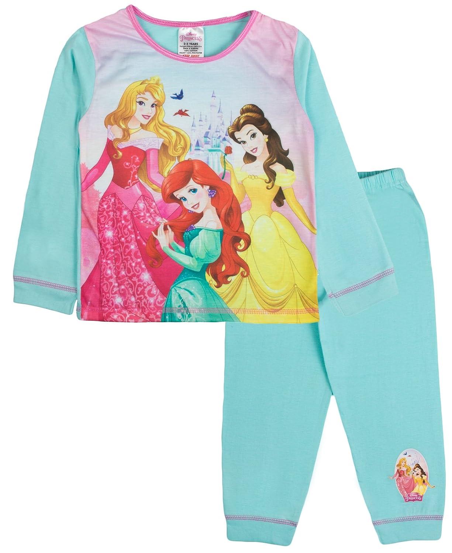Kids Girls Official Disney Princess Long Pyjamas Pj's Set 2 Piece Cuffed Bottom Trousers Size 1-5 Years