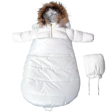 69079d7a7 Amazon.com: BEBEBON Baby Winter Bunting Set Snowsuit & Stroller Sack White  Fur Unisex Newborn: Clothing