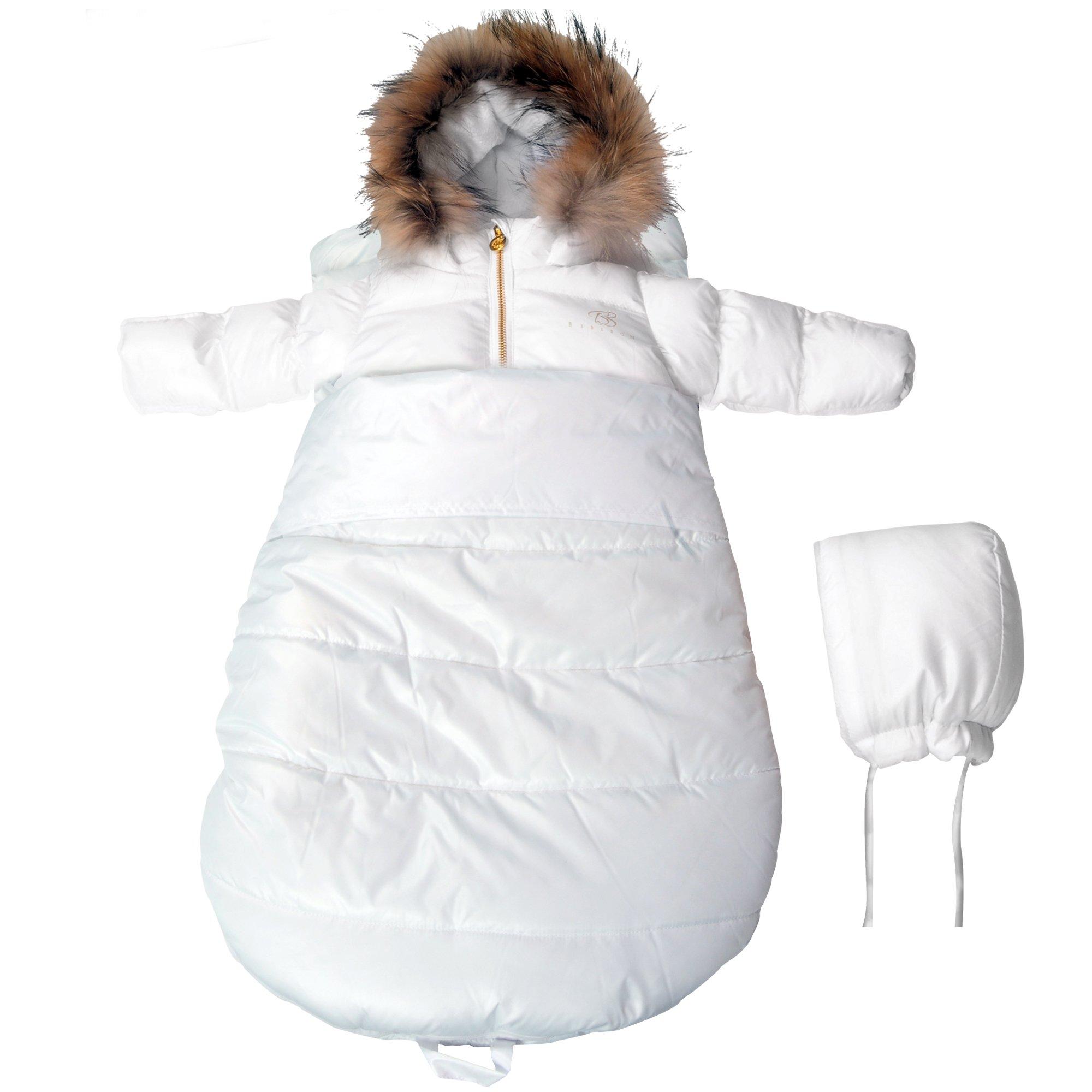 BEBEBON Baby Winter Bunting Set Snowsuit & Stroller Sack White Fur Unisex Newborn