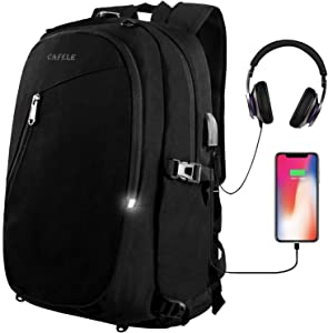 Laptop Backpack,Travel Computer Bag for Women Men,Anti Theft Water Resistant College School Bookbag,Slim Business Backpacks with USB Charging Port Fits15.6 Laptop Notebook,Black