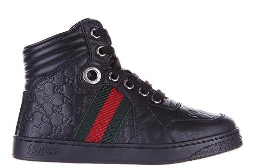 Gucci Zapatos Zapatillas de Deporte largas niño en Piel Nuevo Negro EU 33 271264BLN501075: Amazon.es: Zapatos y complementos