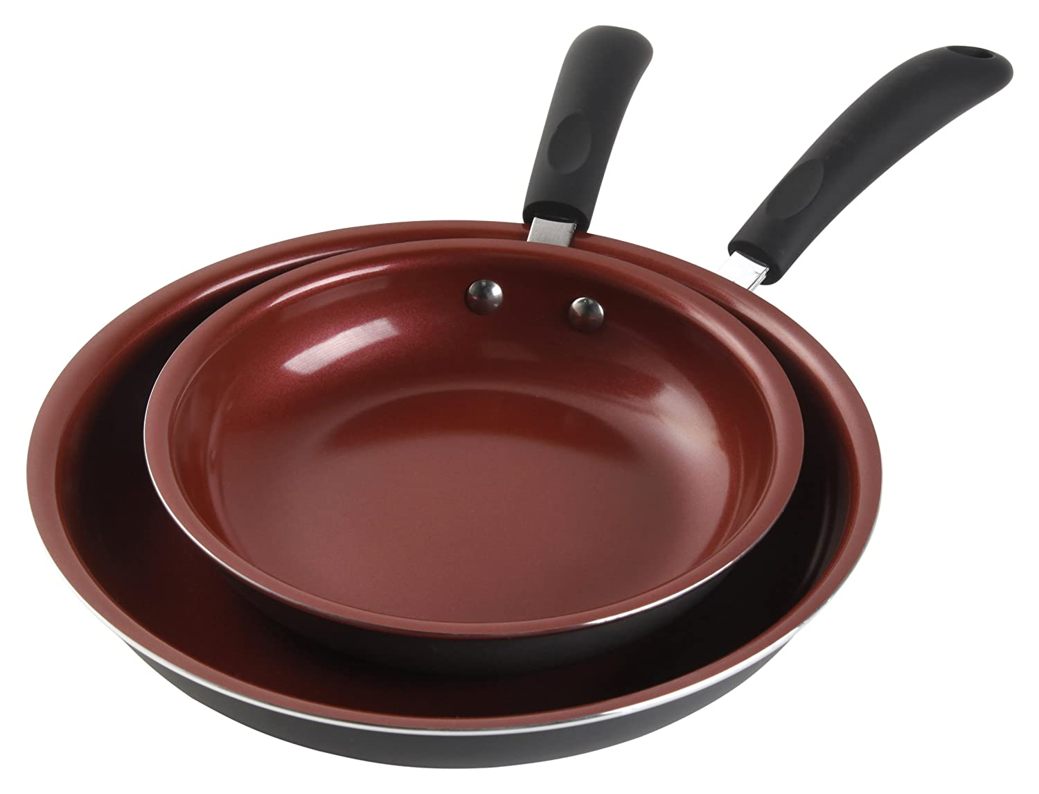 Gibson Home 91601.02 Hummington Eco-Friendly 2-Piece Ceramic Non-Stick Fry Pan Set, Multi-Size, Green