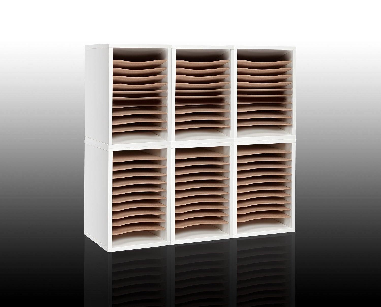 AdirOffice 11-Compartment Wood Vertical Paper Sorter - Literature File Organizer - White