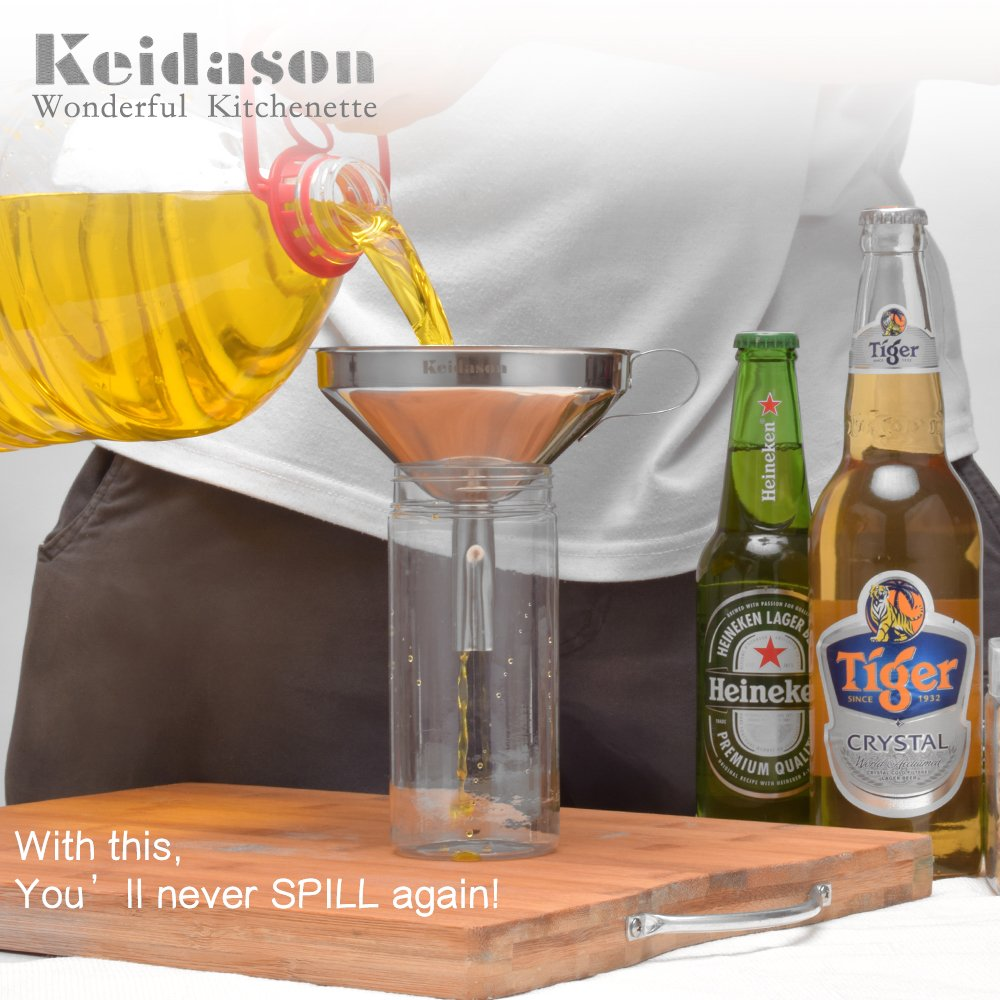 Keidason Stainless Steel Kitchen Funnel with Detachable Filter for Transporting Liquids& Fluid, Adding Ingredients, Jams and Marmalades to Storage Containers (12cm)