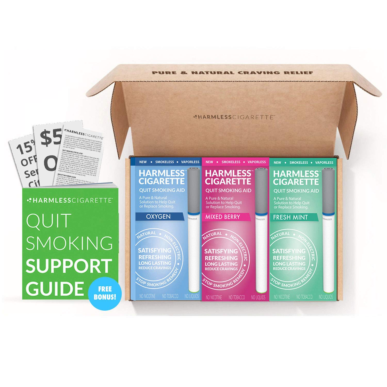 Safe Nicotine-Free Solution to Quit Smoking, Reduce Cravings and Satisfy Hand-to-Mouth, Withdrawal Symptoms and Help Stop Smoking (Oxygen/Mixed Berry/Fresh Mint, Best Value, Variation Set)