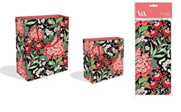Paquete de 3 bolsas de regalo de lujo con diseño de flores ...