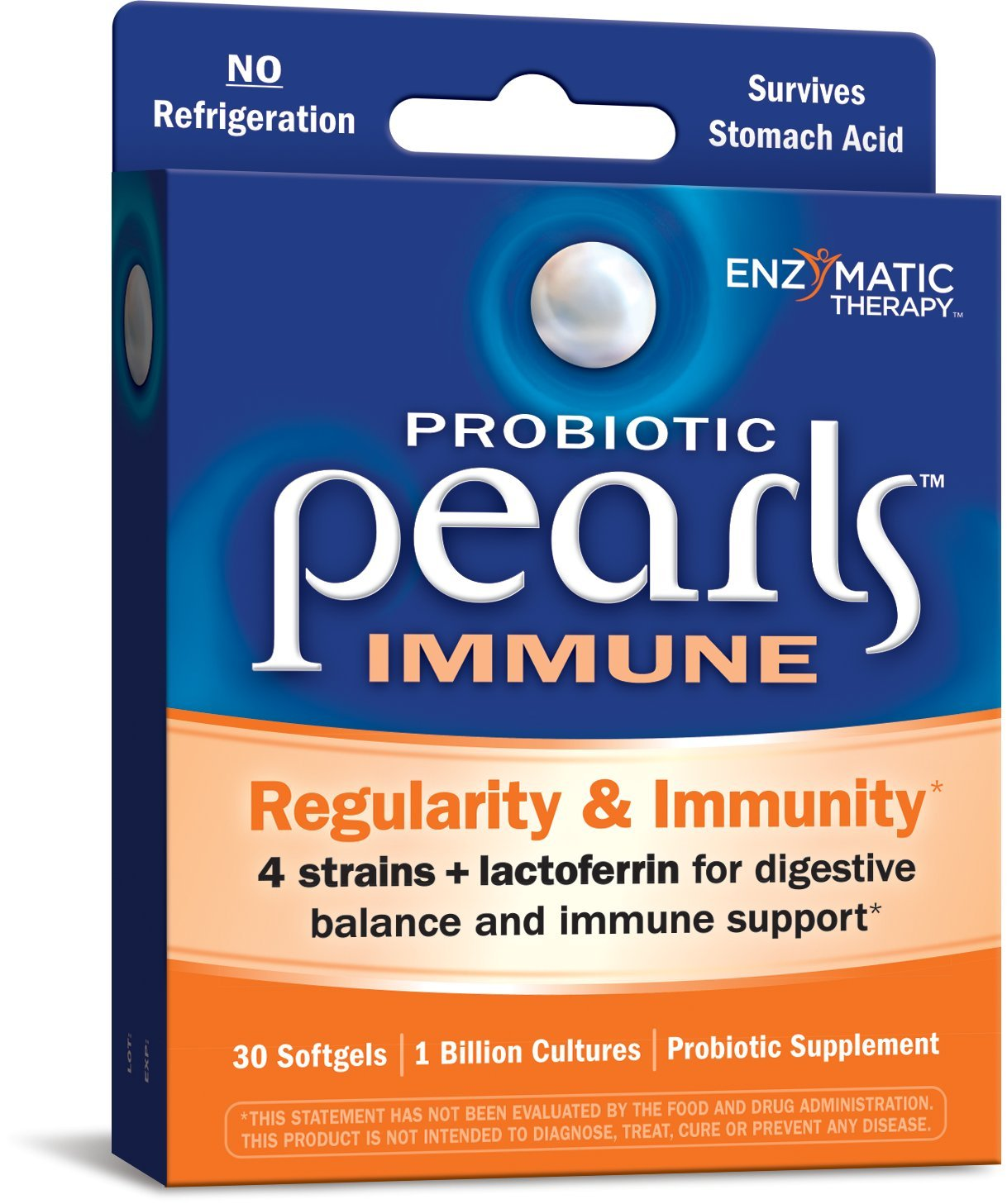 Probiotic Pearls Once Daily Immune Strengthening Probiotic Supplement, 4 Strains + Lactoferrin, 1 Billion Live Cultures, Survives Stomach Acid, No Refrigeration, 30 Softgels