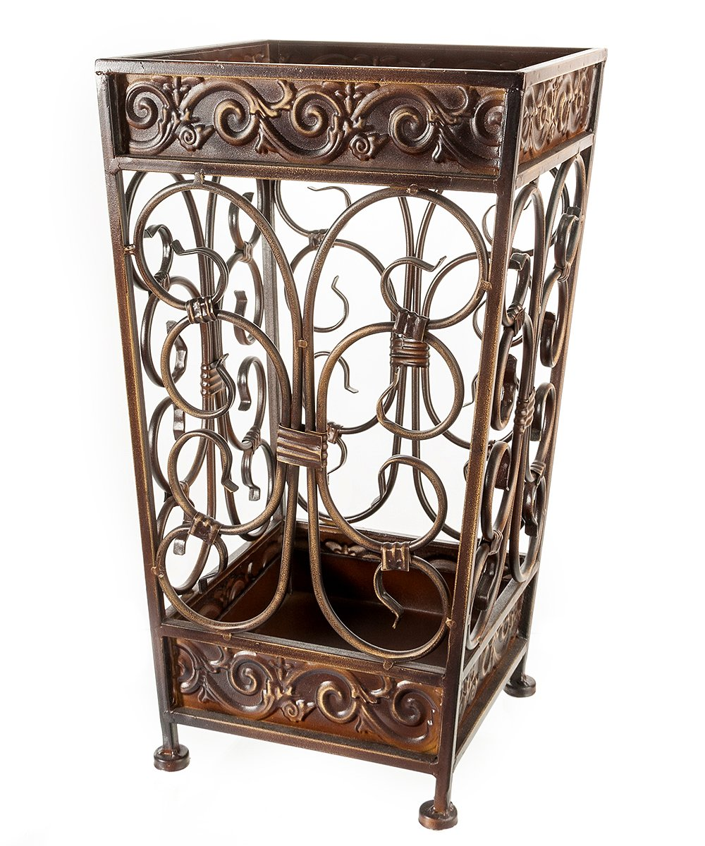 Brelso Super Quality Umbrella Stand, Umbrella Holder, Antique Look Metal, Entry Hallway Dcor, Square Style, w/Removable Drip Tray. (Gold Brown) B00919MC66 Gold-Brown Gold-Brown