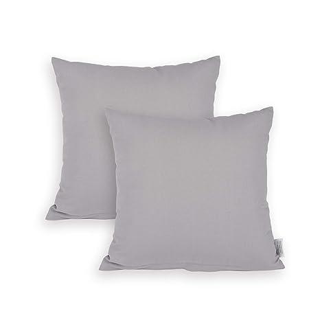Edaygo Funda de cojín de algodón, 40 x 40 cm, Gris, 2 ...
