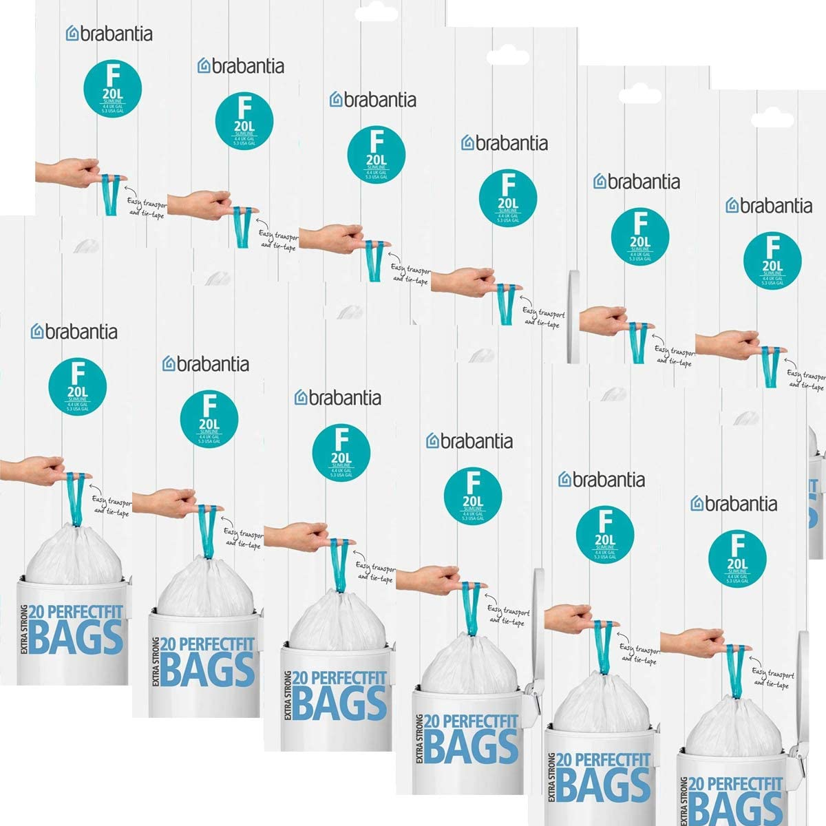 Brabantia 245343 10-12 l 20 Unidades Bolsas de Basura c/ódigo C
