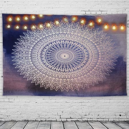 GeeRic Tapiz Pared, Tapiz de Mandala tapices de Pared de algodón Indio, Colcha de pícnic, Manta de Pared, Tapices Decorativos 150 × 230 cm púrpura Azul: Amazon.es: Hogar